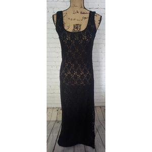 HILO BLACK SHEER LACE DRESS OR SWIMSUIT COVER